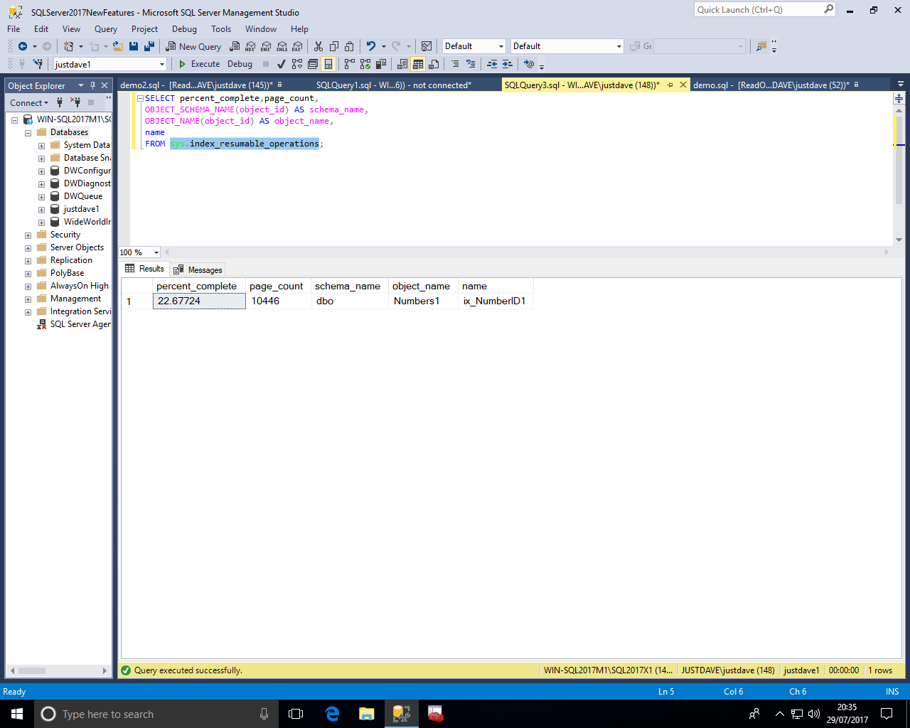 SQL Server 2017 RC New Features - Part 2 Database Engine